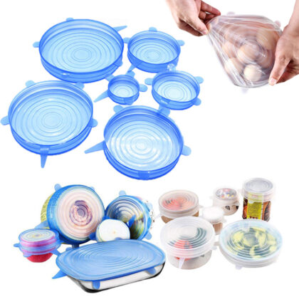 6 pcs Environment Friendly Silicone Lids LFGB Standard Novelty High Tension Silicone Suction Stretch Lid Set for Kitchen Tool