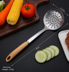 10PCS Stainless Steel Utensils Non-slip Heat Resistant Kitchen Cooking Tool With Wooden Handle