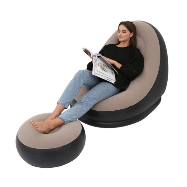 BEAN BAG lazy sofa inflatable folding recliner outdoor sofa bed with pedal comfortable flocking single sofa chair pile coating