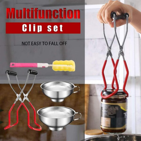 4PCS Canning Tool Kit Safe Secure Grip Canning Tongs Stainless Steel Cans Clampfor Kitchen Restaurant Wide-mouth Regular Jars
