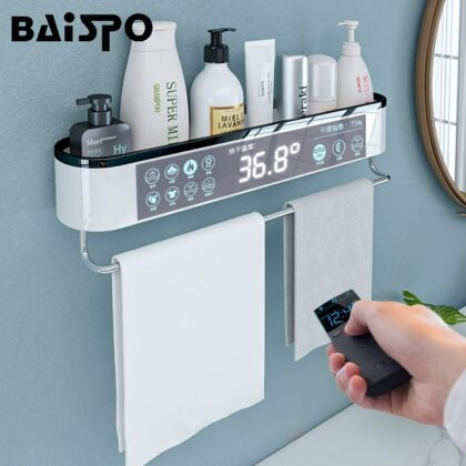 BAISPO Punch-free Storage Shelf Towel Rack Storage In The Bathroom Home Garden Shelves Organizer For Home Bathroom Accessories
