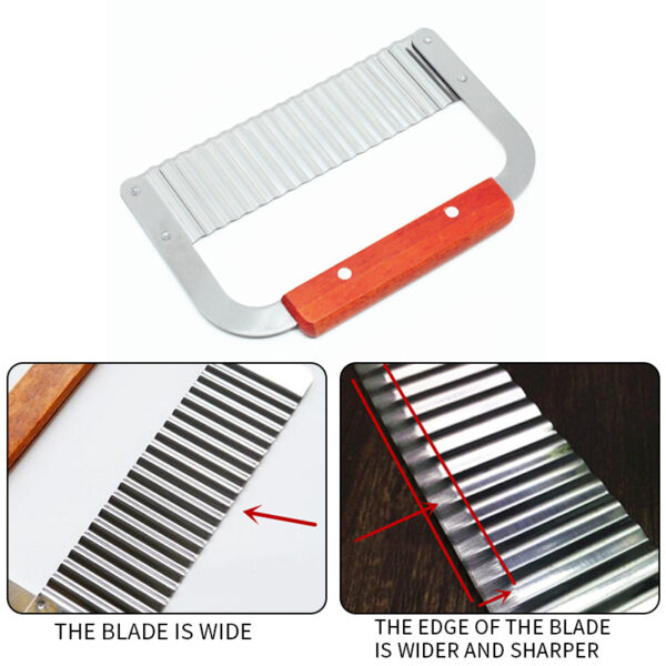 Wavy Crinkle Cutting Tool Stainless Steel Potato Chopping Knife Vegetable French Fry Slicer for Kitchen