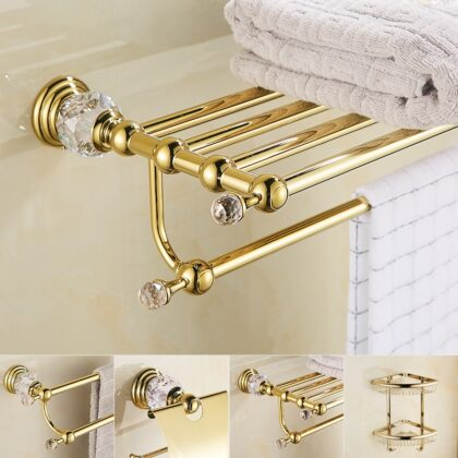 European GoldTowel Rack Bathroom Hardware Set Solid Brass Crystal Tissue Box Toilet Brush Holder Bathroom Accessories Set