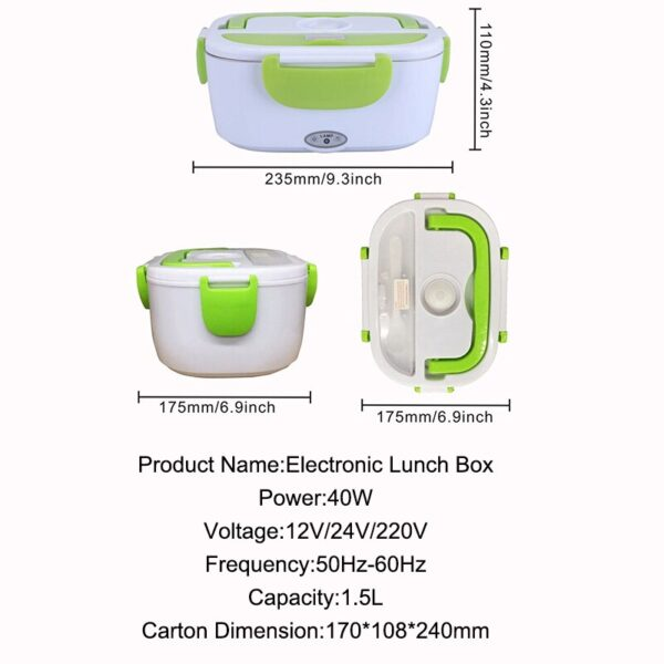 1.5L 12V/ 220V Electric Heating Lunch Box Food-Grade Electric Food Container Portable Warmer Dinnerware Sets