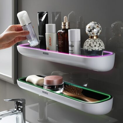 Adhesive Bathroom Shelf Organizer Wall Mounted Shampoo Spices Shower Storage Rack Holder Bathroom Accessories