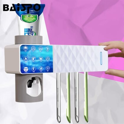 BAISPO 3 in 1 UV Toothbrush Holder Automatic Toothpaste Squeezers Dispenser Toothbrush Sterilizer Home Bathroom Accessories Sets