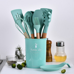 Heat Resistance 11 Pcs Pink Kitchen Accessories Wooden Handle Cooking Tools Silicone Spatula Kitchen Utensil Set From China