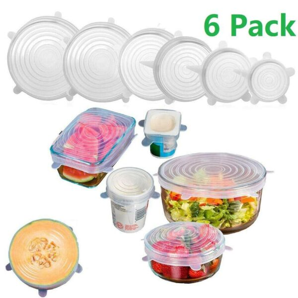 6 Pcs/Set Food Silicone Cover Cap Universal Silicone Lids For Cookware Bowl Reusable Stretch Lids Kitchen Accessories