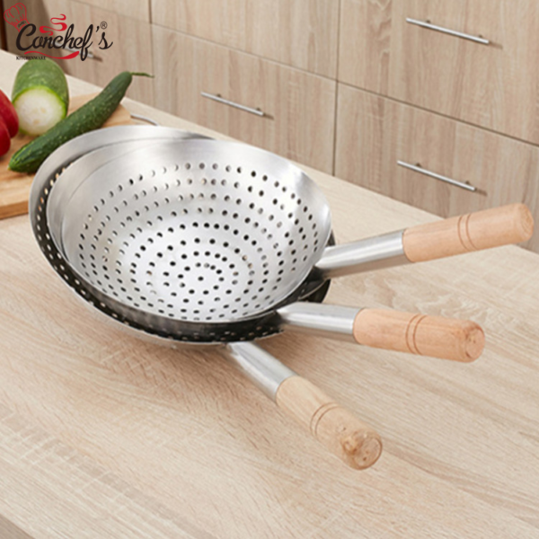 Canchef kitchen big size skimmer soup wooden handle stainless steel restaurant skimmer