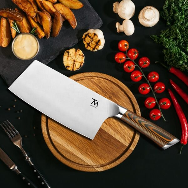 Wholesale 7 Inch Stainless Steel Cleaver Kitchen Knife Custom Chinese Meat Slicing Butcher Professional Cleaver Knife
