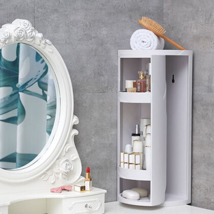 2 Colors 2 Sizes Multi-functional Toilet Storage Shelf 360 Degrees Rotating Bathroom Corner Storage Rack Cabinet