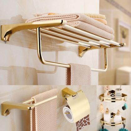 Bathroom Accessories Paper Holder,Corner Shelf,Towel Rack,Toilet Brush Holder,Towel Holder Brass Gold Bathroom Hardware set