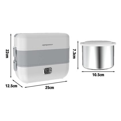Electric Lunch Box Portable Bento Box Stainless Steel Food Container Food Bowl Mini Rice Cooker Hot Lunch Box 2L Large Capacity
