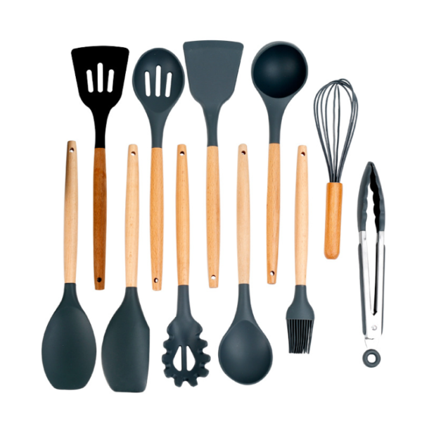 Kitchen Utensils Set With Holdster 12Pcs Natural Wooden Handles Cooking Tools Turner Tongs Spatula Spoon For Nonstick Cookware