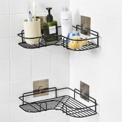 1PC Toothbrush holder kitchen Bathroom decoration Accessories Punch-Free Corner Rack Bathroom Fixtures Wrought Iron Storage Rack