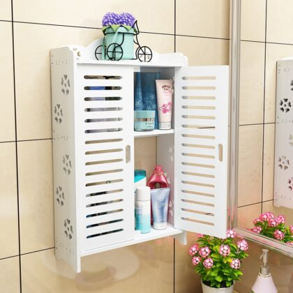 A1 Bathroom shelf wall-mounted bathroom wall punch-free suction toilet wash cabinet LO515415