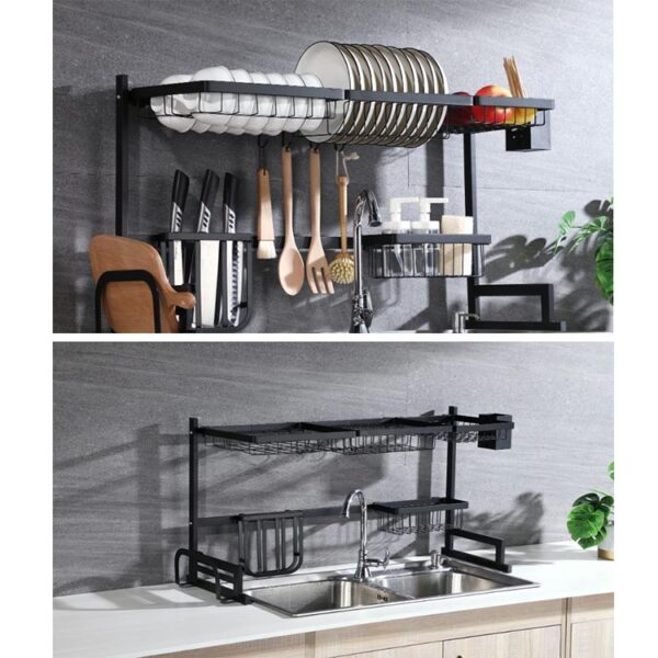 Custom Hot Sales Drying Dryer Holder Metal Stand Plate Shelf Rack Two Tiers Dish Drainer Kitchen Storage
