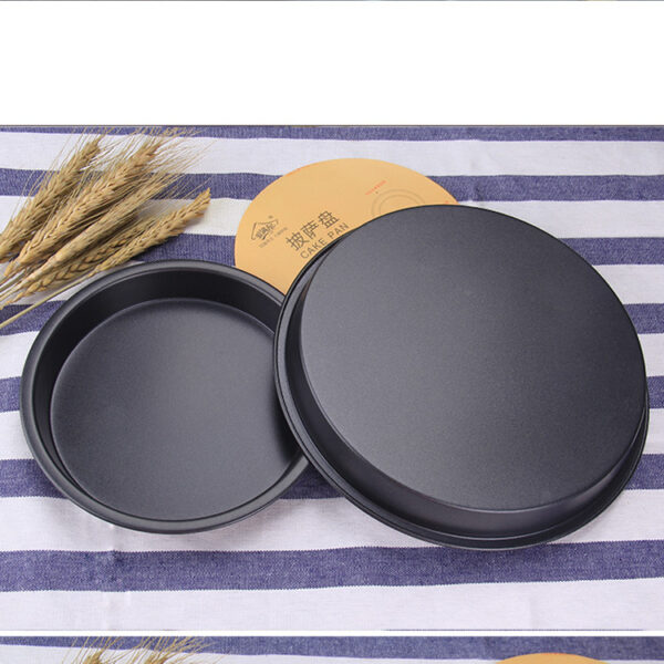 8 Inch Black Pizza Pan Carbon Steel Baking Pan For Air Fryer Accessories Plate Dishes Cooking Tool Baking Kitchen Tools