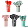 11pcs BPA Free Non-Toxic Wooden handle Silicone Kitchen Accessories Utensils Set for Cooking Baking