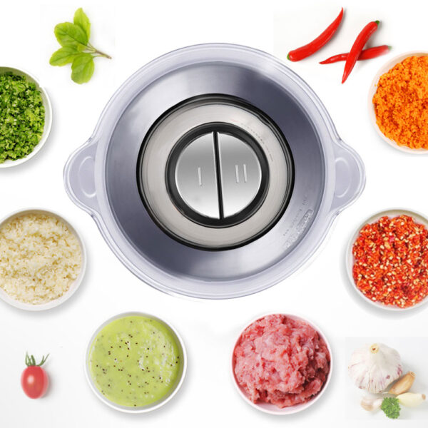 2 Speeds 500W Stainless steel 2L Capacity Electric Chopper Meat Grinder Mincer Food Processor Slicer