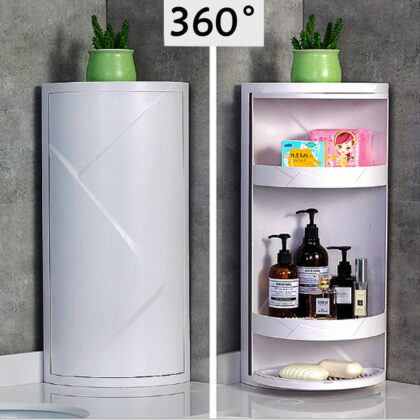 M/L Sizes Multi-function 360-degree Rotatable Bathroom Storage Rack Corner Storage Rack Cabinet Store Cosmetics/Perfum/Shampoo