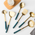 Stainless Steel Kitchen Cooking Utensil Tool With Ceramic Grip Slotted Tuner Spoon Ladle Pasta Server With Metal Stand Rack