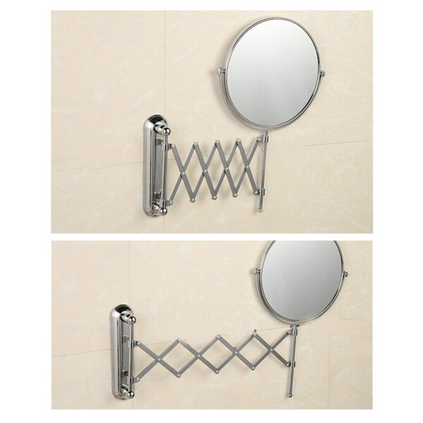6 Inch 3X Magnifying Round Wall Mirror Two-Sided Retractable Bathroom Mirror 360 Degree Swivel Makeup Mirror