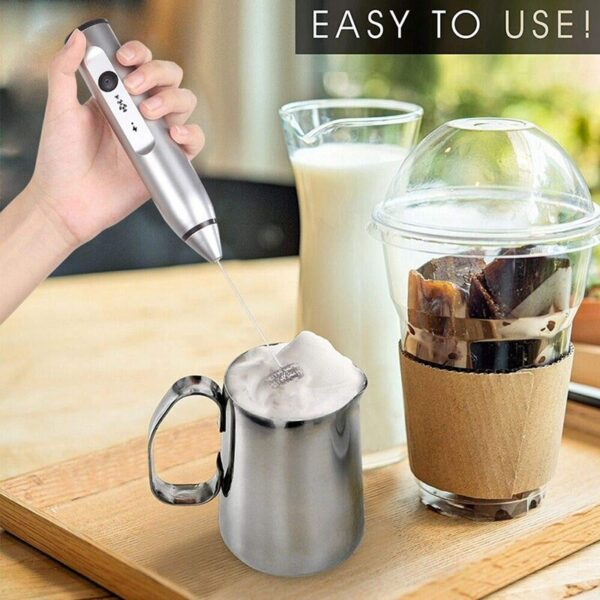 Rechargeable Electric Milk Frother With 2 Whisks, Handheld Foam Maker For Coffee, Latte, Cappuccino, Hot Chocolate, Durab