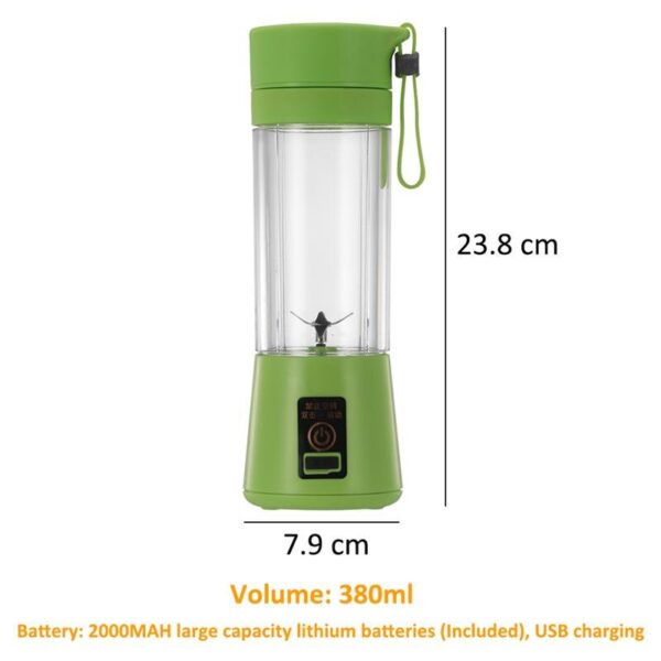 Travel Sports Bottle Juicing Cup 380ml 6 Blades Mini USB Rechargeable Electric Fruit Juicer Smoothie Maker Blender Kitchen