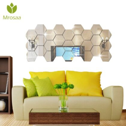 12 Pcs/Set 10cm Home Silver DIY Bath Mirrors Wall Mounted Hexagon Sexangle Mirror Bathroom Mirror Wall Bedroom Office Decor