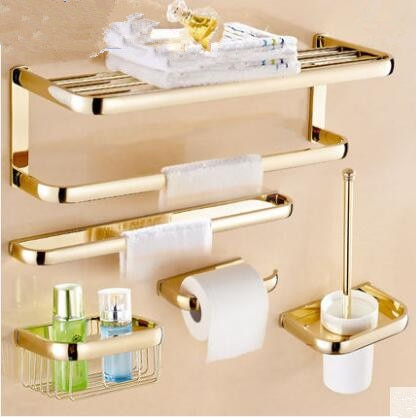 Brass Bathroom Accessories Set, Gold Square Paper Holder,Towel Bar,Soap basket,Towel Rack,Glass Shelf bathroom Hardware set