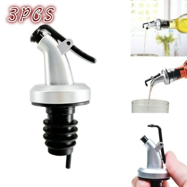 3PCS Stainless Steel Stopper Mouth Olive Oil Pot Cork Red Wine Vinegar Bottle Plug Accessories