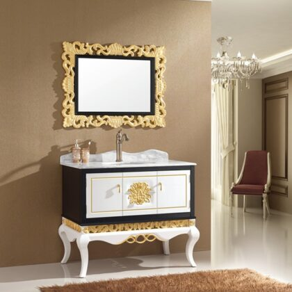 luxury furniture solid oak wood bathroom cabinet with mirror bathroom cabinet with ceramic sink buying agent wholesale price