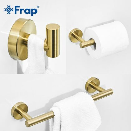 Frap Gold Bathroom Hardware Set Paper Holder Towel Rack Robe Hook Towel Bar Stainless Steel Bathroom Accessories Y38124-1