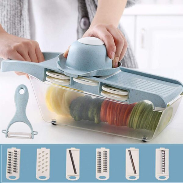 Multifunctional Kitchen vegetable chopper wheat straw material vegetable slicer with six blades