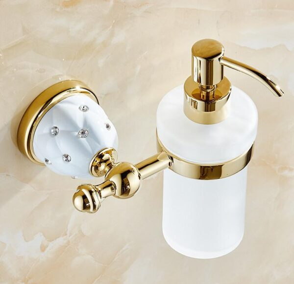Diamond Stars Bathroom Accessories Sets Crystal Brass Gold Bathroom Hardware Sets Wall Mounted Ceramic Base Bathroom Products