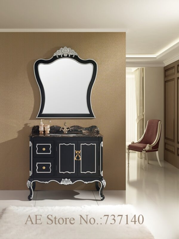 black bathroom cabinet with natural marble countertop solid oak wood bathroom vanity with sink buying agent wholesale price
