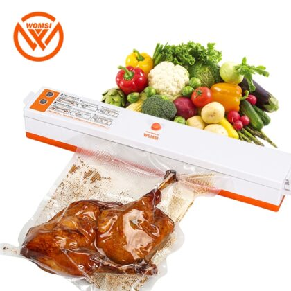 WOMSI 220V/110V Household Food Vacuum Sealer Packaging Machine Film Sealer Vacuum Packer Including 15Pcs bags free