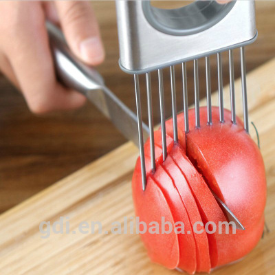 Easy Onion Holder Slicer Fruit Vegetable Tools Tomato Cutter Stainless Steel Meat Tenderizer Kitchen Gadgets Cooking Tool Design