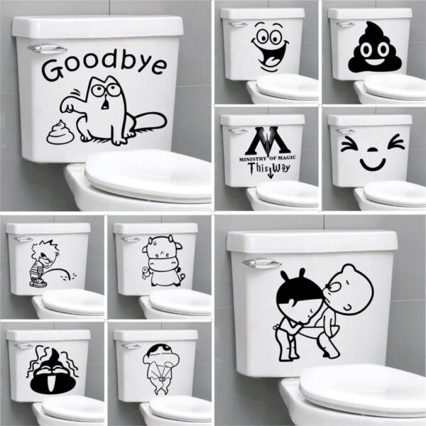 Funny Bathroom Toilet Sticker Home Decoration Accessories Waterproof Removable For Toilet Sticker Decorative Home Decor