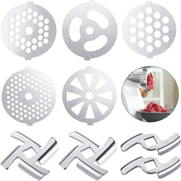 9 Pcs Meat Grinder Blades Meat Grinder Plate Discs Stainless Steel Food Grinder Accessories for Size 5 Stand Mixer and Meat Grin