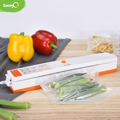 saengQ Electric Vacuum Sealer Packaging Machine For Home Kitchen Including 15pcs Food Saver Bags Commercial Vacuum Food Sealing