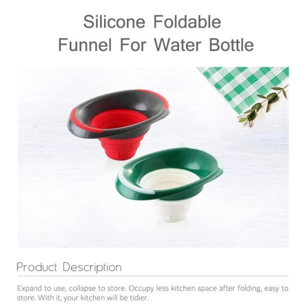 Customized Mini Baking Kitchen Tools Round Silicone Foldable Funnel Collapsible Funnel