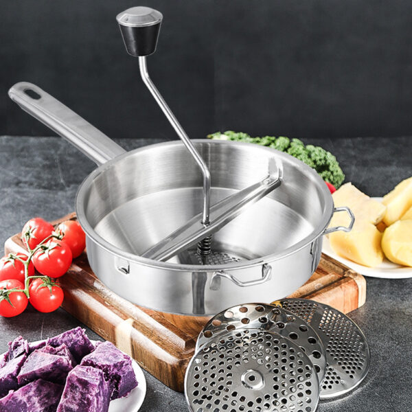 Stainless Steel Rotary Food Mill Home Kitchen Tool with 3 Milling Discs Great for Making Vegetables Tomatoes Puree or Soups