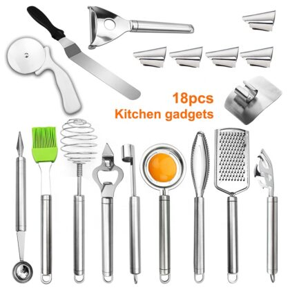 New Fashionable 18pcs Kitchen Tools Set Peelers Pizza Cutter Silicone Brush Whisk