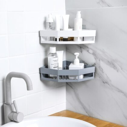 Punch-free Bathroom Shampoo Soap Toothbrush Shelf Storage Rack Bathroom Tripod Wall-mounted Corner Bathroom Accessorie Dropship