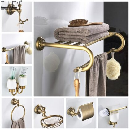 Bathroom Accessories Antique Bronze Towel Shelf Toilet Paper Holder Soap Holder Towel Rack Tumble Holder Antique Bronze ELF4001