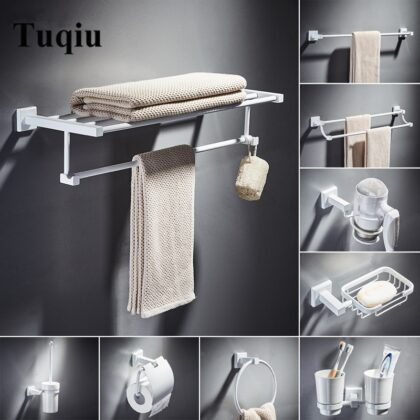 Bathroom Accessories Set,Paper Holder,Towel Bar,towel rack,Towel Hanger,Towel Rail White Brass Square bathroom Hardware set