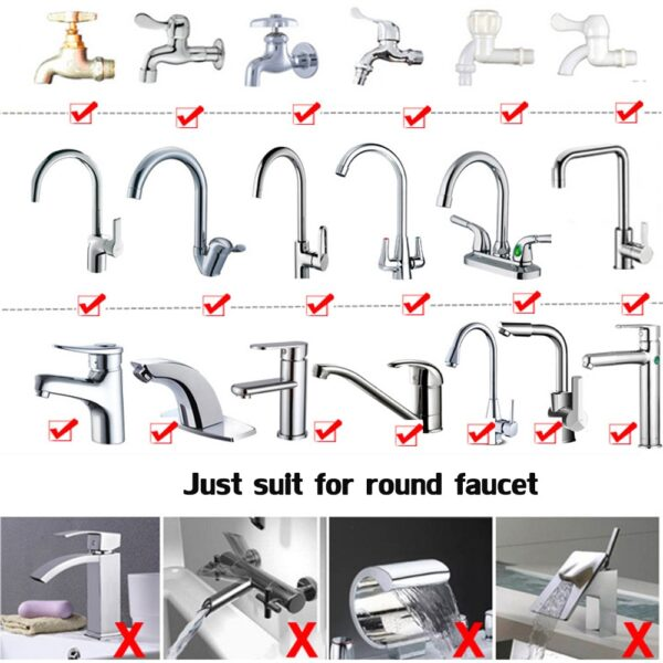 360 Degree Adjustable Water Tap Extension Filter Shower Water Tap Bathroom Faucet Extender Home Kitchen Accessories