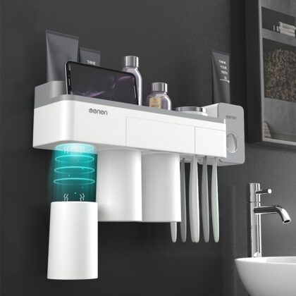 Bathroom Accessories Set Toothbrush Holder Wall Mount Stand Toothpaste Squeezer Dispenser Automatic Storage Rack Organizer